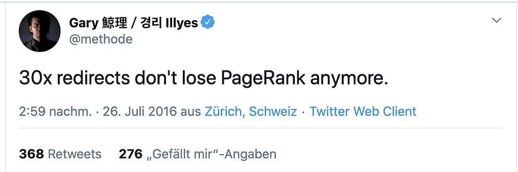 Garry Illes zur Vererbung von PageRank bei 30x Weiterleitungen