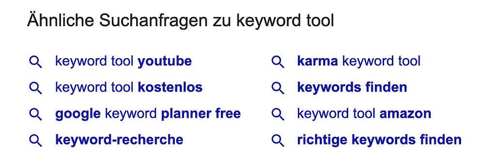 Ähnliche Suchanfragen in Google