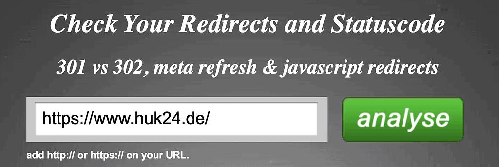 Prüfung der URL von Huk24