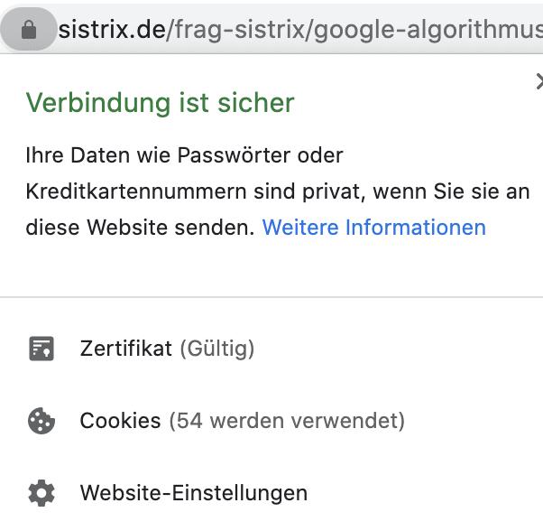 Gültigkeit SSL in Chrome