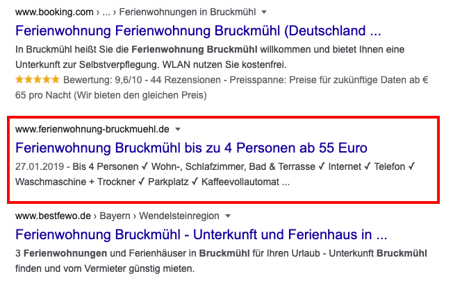 Title Tag in den Google SERP