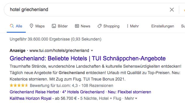 Optimierte Google ADs Anzeige