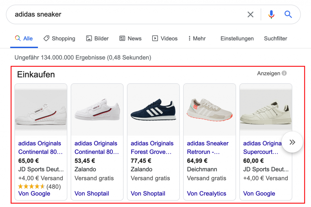 Google Shopping Ergebnis