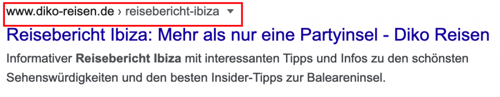 Sprechende URL in Google SERP