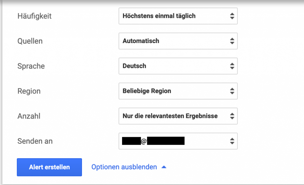 Optionen Google Alert