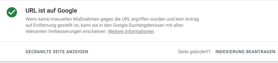 Indexierung bei Google beantragen
