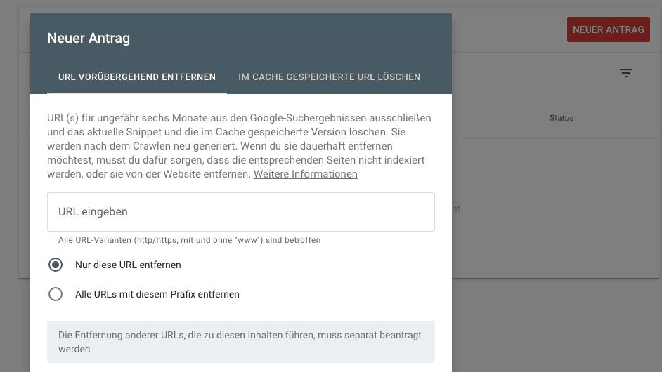 URL aus Google Index entfernen