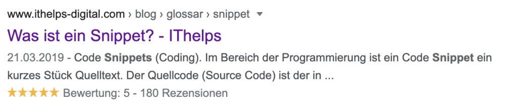 Snippet in Google