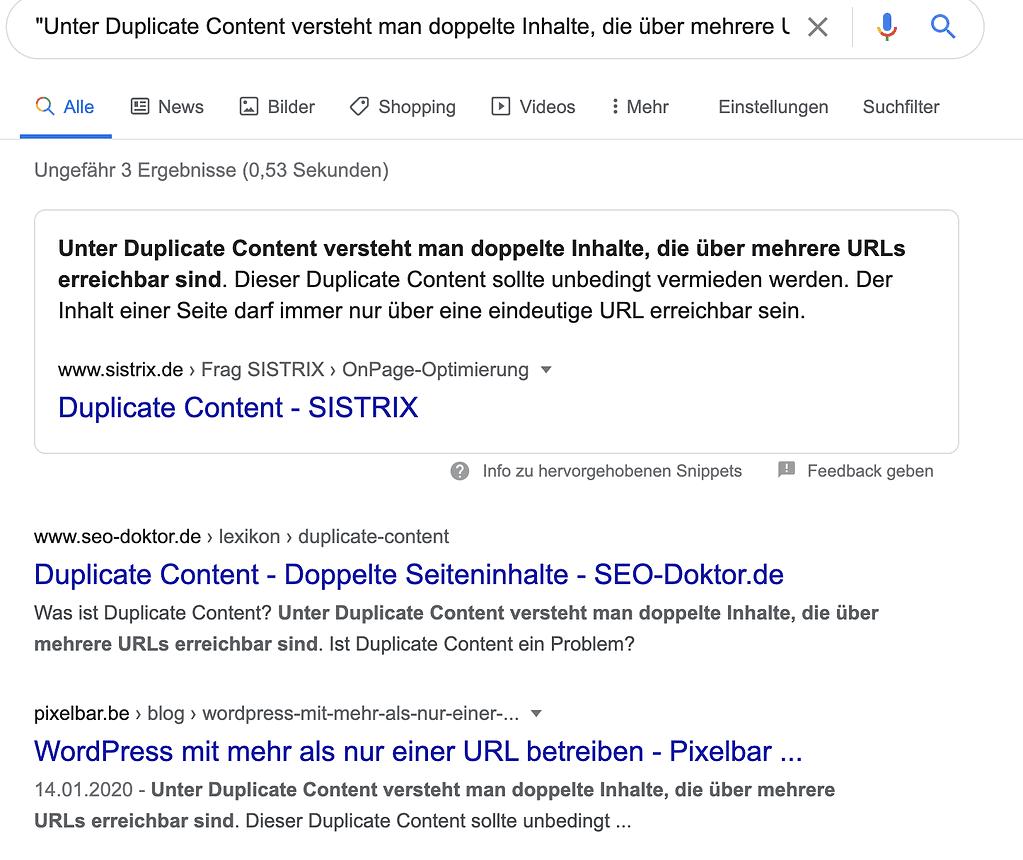 Google Suche mit Anführungszeichen